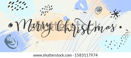 Merry Christmas horizontal calligraphic banner. Light blue hand drawn horizontal banner template. Pale winter colors design. Creative contemporary winter background. Vector illustration, mixed media