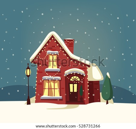 merry christmas house cartoon