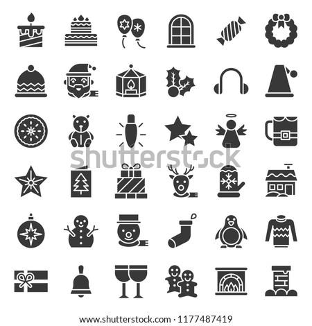 Merry Christmas icon set 4, glyph icon