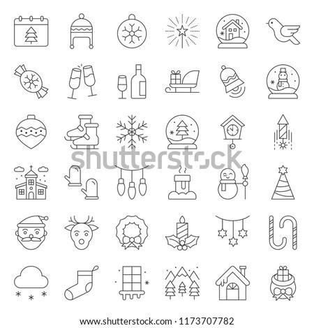 Merry Christmas icon set, outline editable stroke
