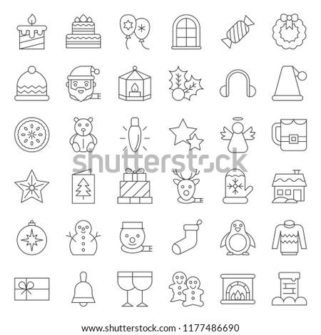 Merry Christmas icon set 4, outline editable stroke