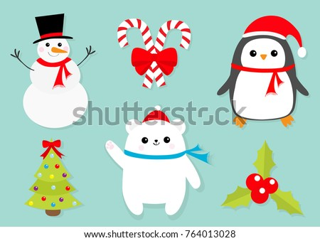 Merry Christmas icon set. Snowman Candy Cane stick red bow. Penguin bird, white polar bear cub wearing Santa Claus hat, scarf. Holly berry Mistletoe. Flat design. Fir-tree Blue background. Vector