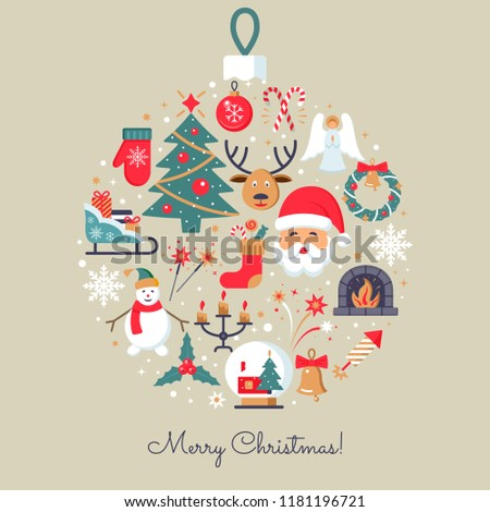 Merry Christmas icons. Elegant minimal design in flat style. Christmas party elements. Colorfull pictograms for web site design and mobile apps.