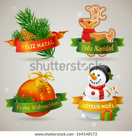 Merry Christmas icons in different languages: Portuguese, Spanish, German, French. Detailed vector illsutrations. - stock vector
