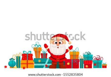 Merry Christmas illusrtarion. Cartoon vector picture of  Santa and presents.