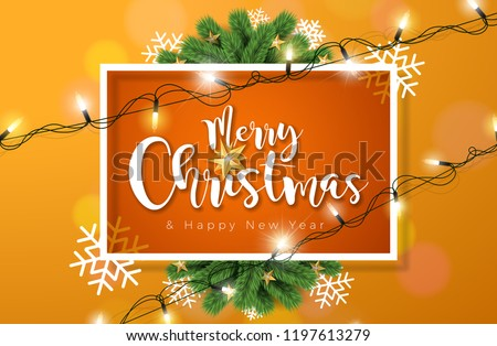 stock-vector-merry-christmas-illustration-with-lights-garland-and-typography-elements-on-orange-background