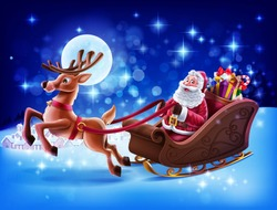 merry christmas illustration with santa claus