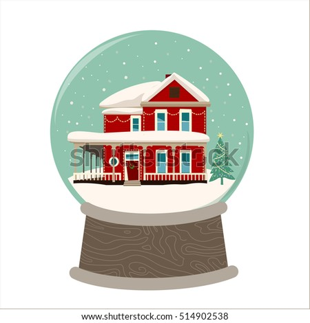 Merry Christmas image of wooden house in a snowglobe