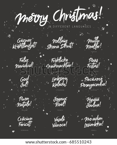 Merry Christmas in different languages. Vector illustration on a black background. Elements for design. Concept festive greeting card. Lettering and calligraphy. Set of phrases in a stylish font.