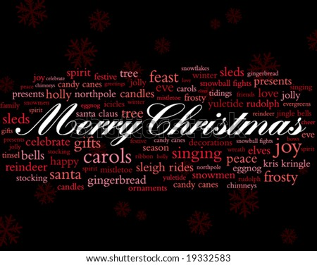 merry christmas in white surrounded by lots of red holiday words