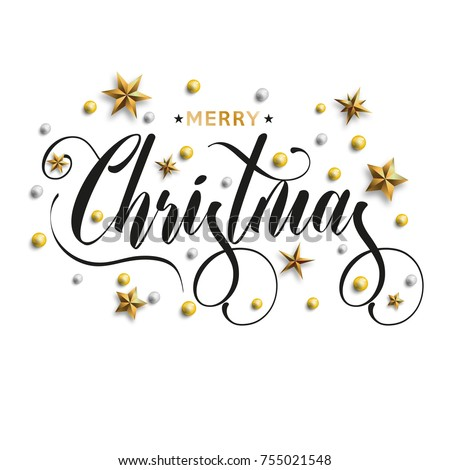 Merry Christmas inscription decorated with gold stars and beads. Vector illustration. #755021548