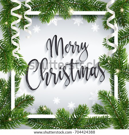 Merry Christmas inscription greeting. White festive background with typography, serpentine, snow-flakes and holidays christmas tree branches. Calligraphic script. Lettering text. Realistic style.
