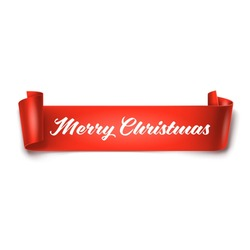 Merry Christmas inscription on red detailed curved ribbon isolated on white background. Curved paper banner.