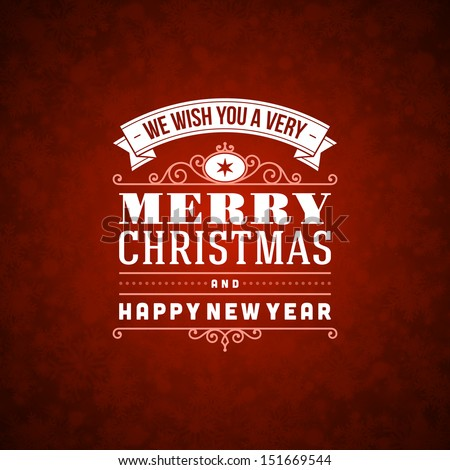 Merry Christmas invitation card ornament decoration background. Vector illustration Eps 10. Happy new year message.