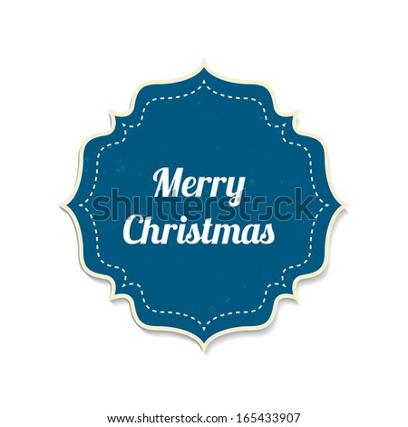 Merry Christmas label. Christmas Vintage Badge, Isolated On White Background, Vector Illustration.