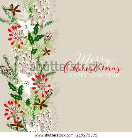 Merry Christmas Landscape Vector Christmas retro greeting card and background