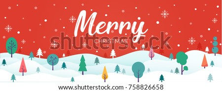 Merry Christmas landscape with christmas tree and snow vector on red background