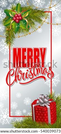 Merry Christmas Lettering and Mistletoe