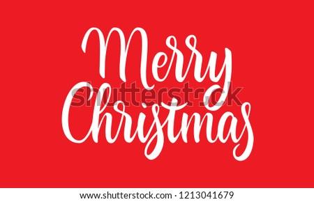 Merry Christmas lettering card. Simple modern calligraphy banner. Brush style festive celebration design for print. Vector illustration on red background