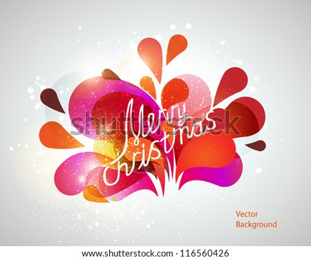 Merry Christmas lettering, Christmas card. Vector background - stock vector