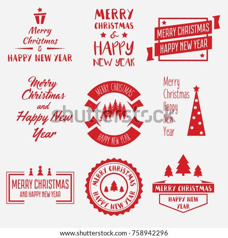 Merry Christmas Lettering Design Set of Vector labels, emblems and elements