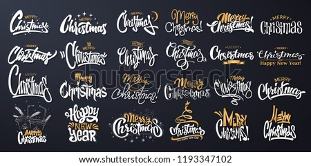 Merry Christmas Lettering Design Set. Vector illustration.