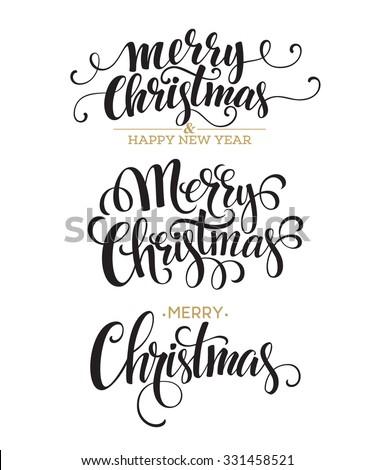 Merry Christmas Lettering Design Set. Vector illustration EPS10