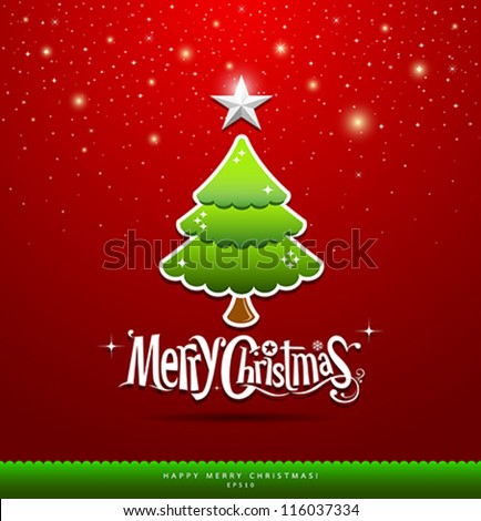 Merry Christmas lettering green tree background vector illustration
