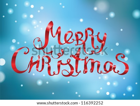 Merry Christmas lettering made of ribbons on blue snowy background  - vector illustration.