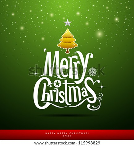 Merry Christmas lettering on green background, vector illustration