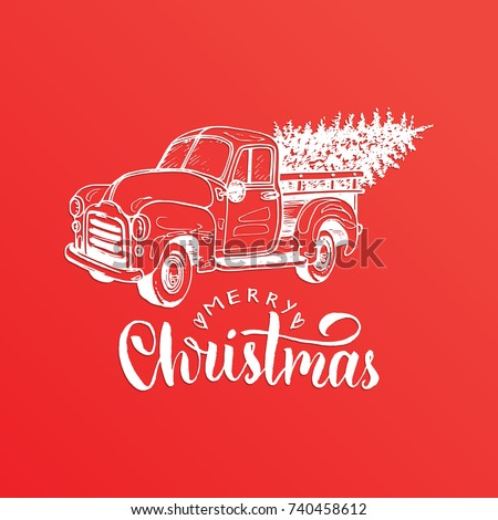 Merry Christmas lettering on red background. Vector hand drawn toy pickup illustration. Happy Holidays greeting card, poster template.