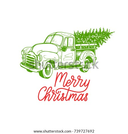 Merry Christmas lettering on white background. Vector hand drawn toy pickup illustration. Happy Holidays greeting card, poster template.