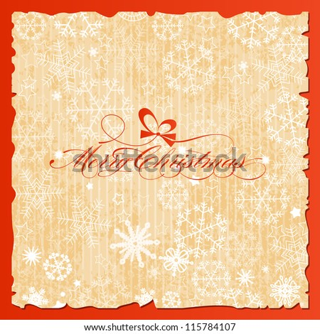 Merry Christmas lettering over vintage paper snowflakes background vector illustration