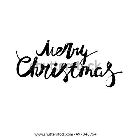 Merry christmas lettering. Perfect Xmas design for greeting cards and invitations.