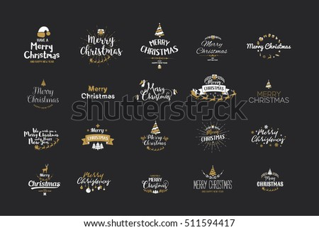 Merry Christmas lettering typography. Handwriting text design with winter holidays calligraphy, icons, symbols, signs. Happy New Year greeting card decoration on dark background. Abstract vector set.