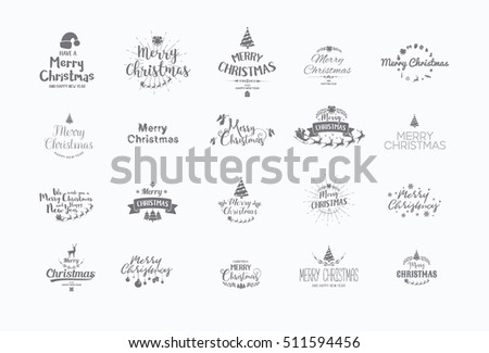 Merry Christmas lettering typography. Handwriting text design with winter holidays calligraphy, icons, symbols, signs. Happy New Year greeting card decoration on grey background. Abstract vector set.