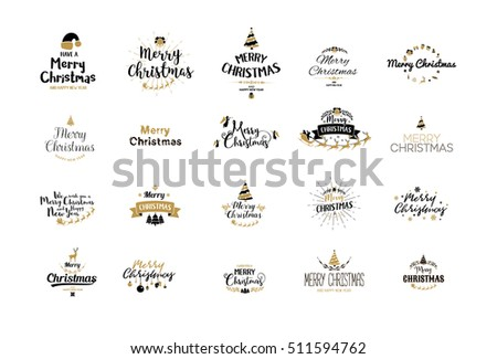 Merry Christmas lettering typography. Handwriting text design with winter holidays calligraphy, icons, signs. Happy New Year greeting card decoration on white background. Abstract vector set.