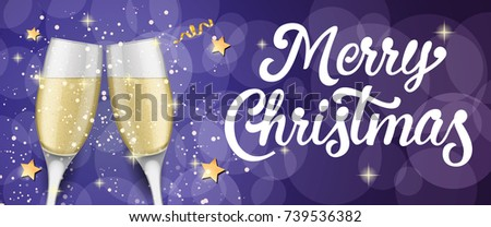 Merry Christmas lettering with champagne flutes #739536382