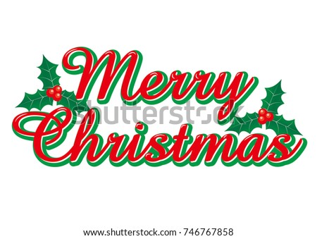 merry christmas merry christmas logo of red cursive holly illustration vector data - Merry Christmas Logos
