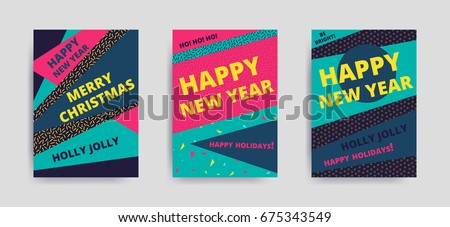 merry christmas new year design eye catching banner template bright colorful vector illustrations for