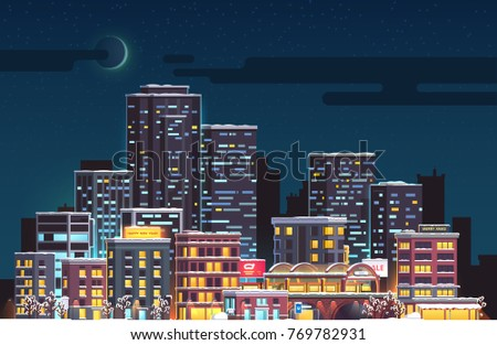 Merry Christmas & New Year night moon skyscrapers cityscape. Evening crescent and stars, city downtown landscape, snow covered skyscrapers. Flat vector illustration.