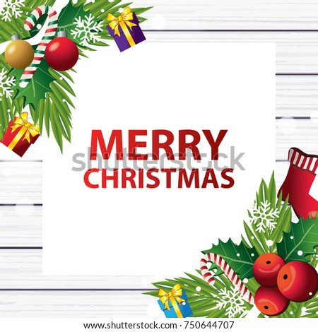 Merry Christmas on wood background vector illustration