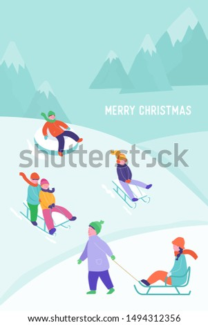 Merry Christmas or New Year Card with kids riding sledding slide. Snow landscape, winter snowy fun activities. Sled speed riding or children holiday sledge ride game activity vector illustration