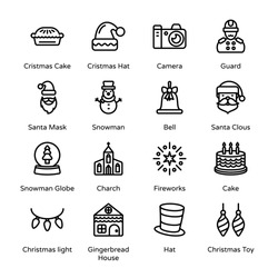 Merry Christmas Outline Icons - Stroked, Vectors