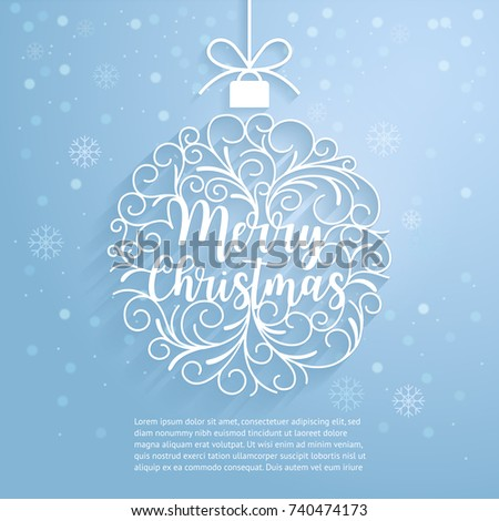 Merry Christmas paper cut art. Vector and illustration.