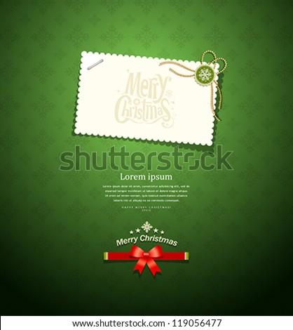 Merry christmas paper white card message on green background, vector illustration