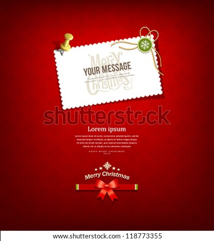 Merry christmas paper white card message, vector illustration
