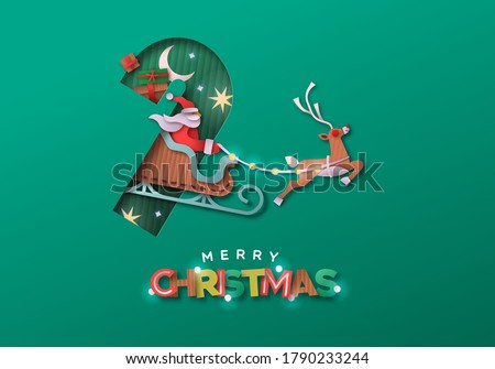 Merry Christmas papercut greeting card ilustration. Santa claus riding reindeer sled inside candy cane shape made in recycled cardboard paper material. Eco holiday craft design for happy xmas wishes.