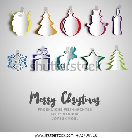 Merry Christmas papercut set, Realistic origami set, christmas tree, present gift, reindeer, candle, snowman, bulb, christmas ball, santa beard, snow star, Vector illustration