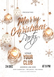 Merry Christmas party invitation card or flyer design with hanging golden baubles, stars and snowflakes decorated on white background.